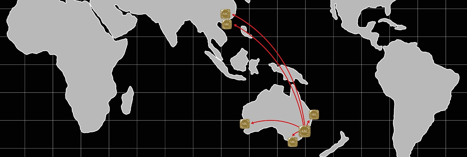 Map showing ABC refinery's geographical reach from Australia to Asia